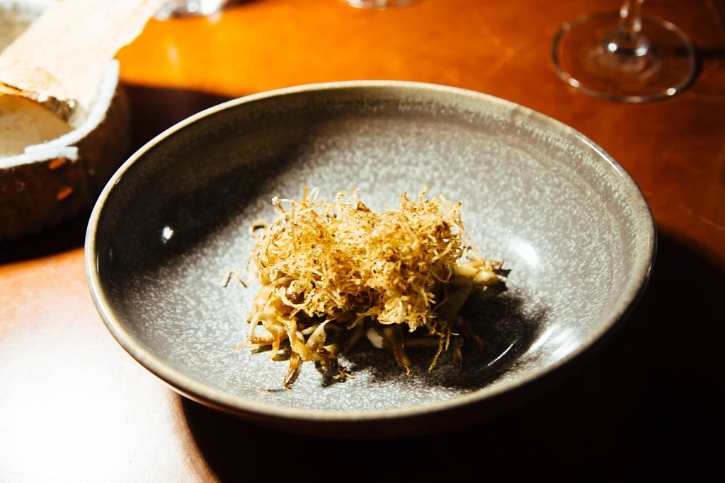 Oyster-mushroom, sour cream, potato