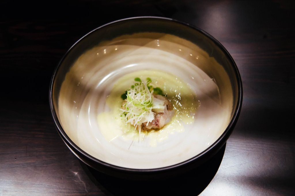 Fish—cod parfait, cod cheeks/tongue, apple/scallion cream, wakame oil and daikon