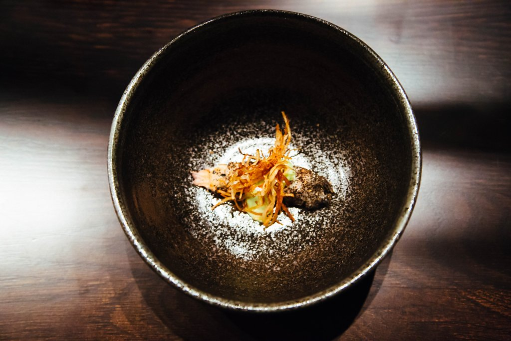 Crustaecean—langoustine, coral emulsion, langoustine ash, potato and dill oil