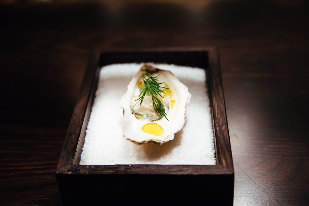 Oyster—absinth, sheep yogurt, cumin, atsina, dill and fennel
