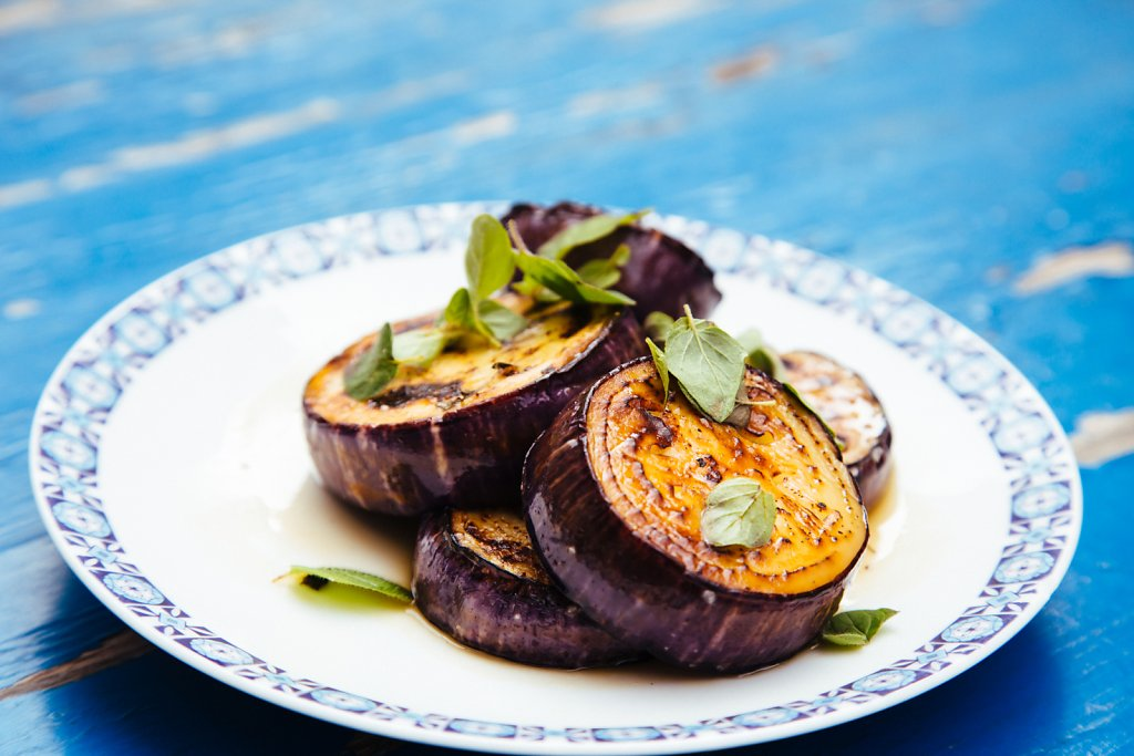 Aubergine and olive oil