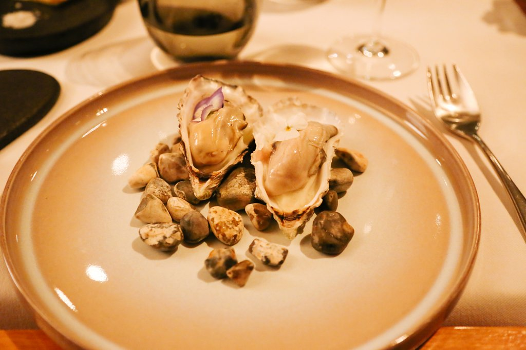 Poached Cornish rock oyster, Granny Smith, shallots