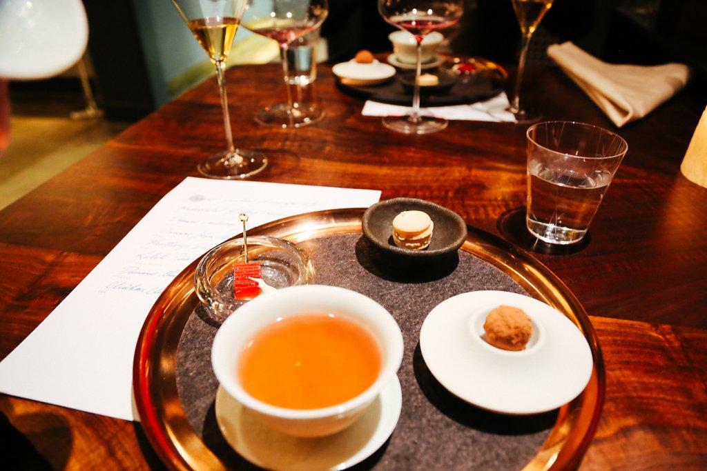 Buckwheat tea, rhubarb terrine with goats yogurt, oatmeal raisin macaron and earl grey molten truffle