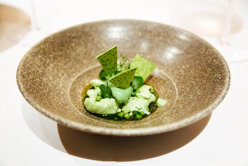 Green pea ice cream, matcha tea and shiso