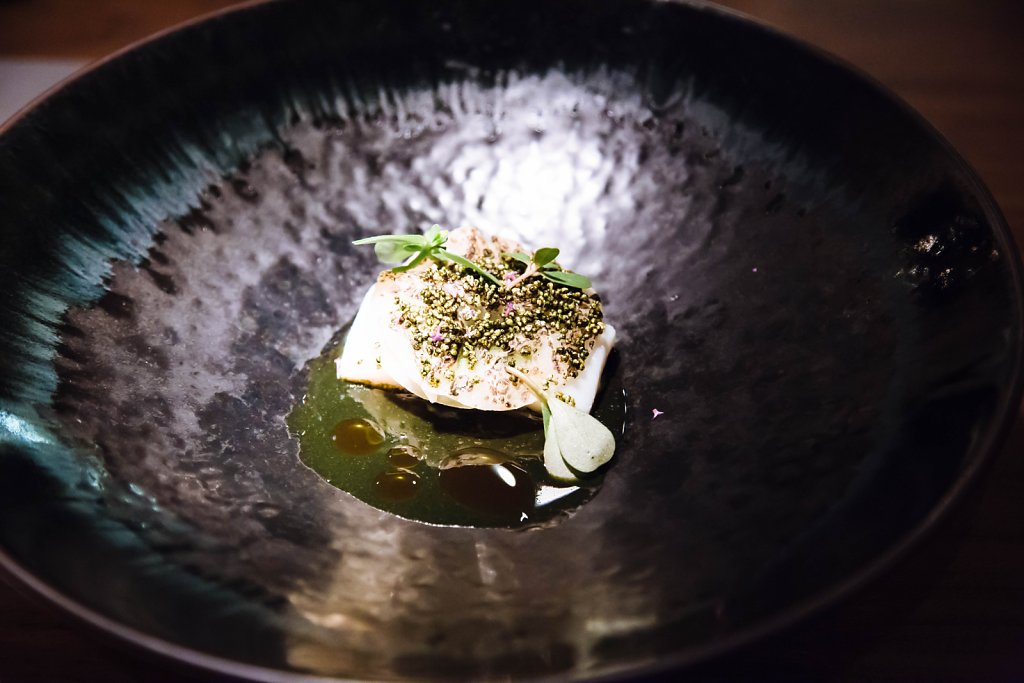 Wild flounder, cabbage, nori and amaranth