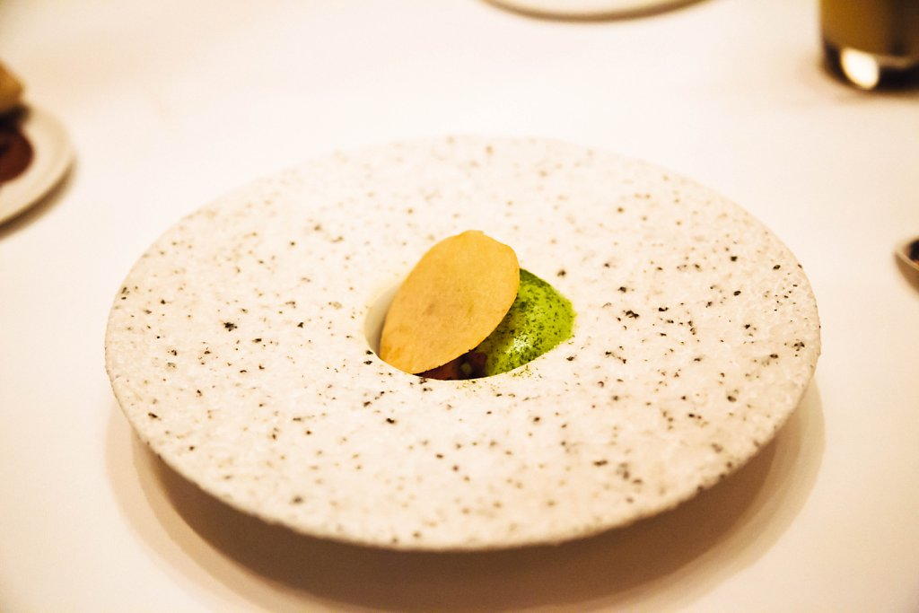 Avocado foam, with mushroom, asparagus and mustard chip