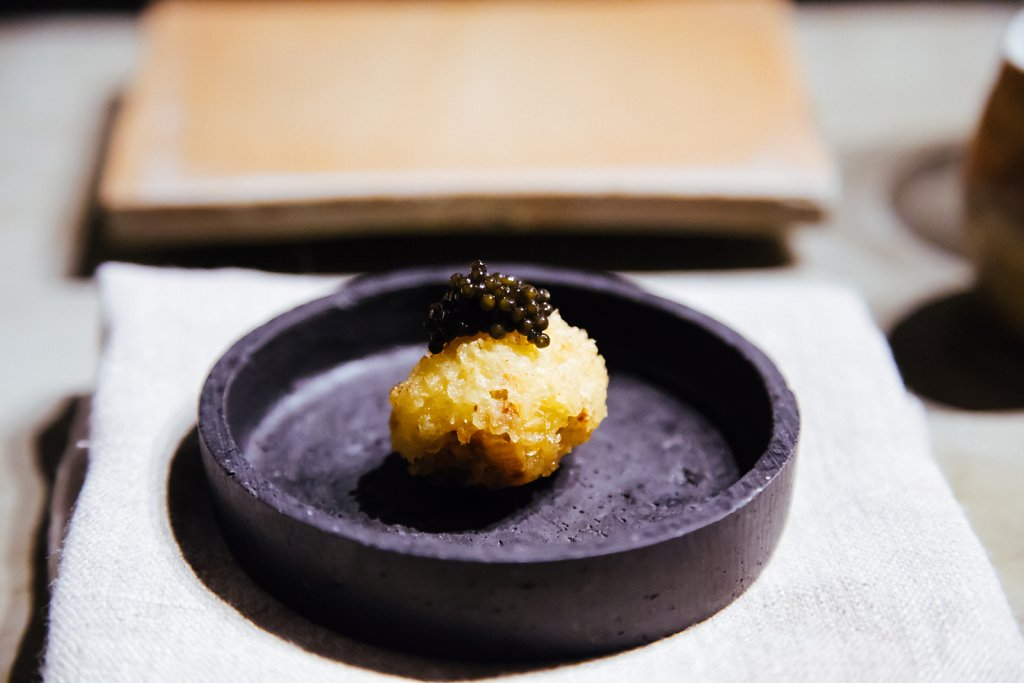 Foie gras croquette and caviar