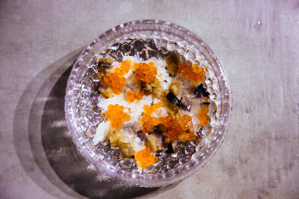 Crab, eggplant, dashi-vinegar jelly and smoked trout roe