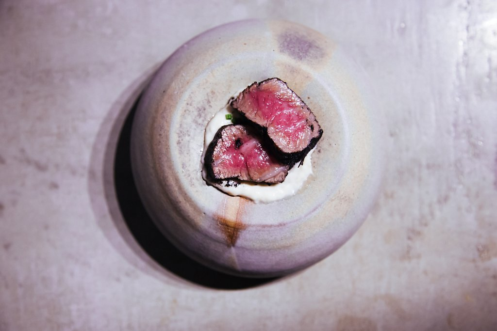 Smoked eel cream, wagyu, ash and chives