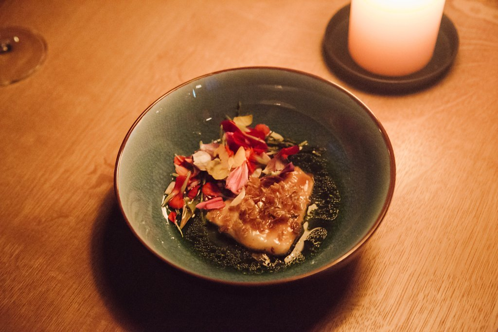 Grilled turbot, nettles and flowers