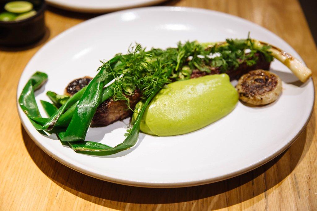 Short rib, scallions, cipollini and avocado