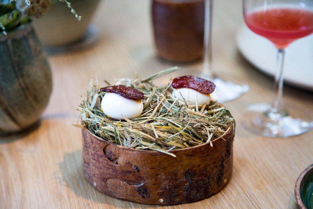 Quails egg and hip berry chorizo